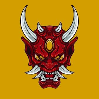 Japanese oni mask mask design illustration for mascol logo