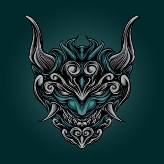 일본 온 마스크 벡터 로고 디자인입니다. 악마 마스크 그림