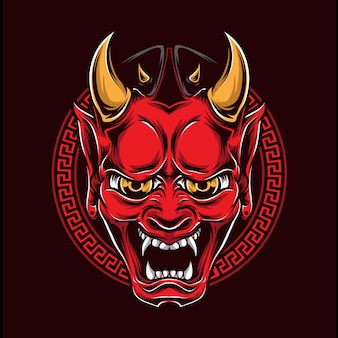 Japanese oni mask vector logo