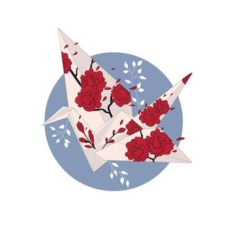 バラと日本のオレガミ。円で隔離の色ベクトル漫画イラスト。