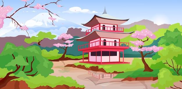 日本の仏塔と富士山のフラットカラーイラスト