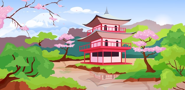 Japanese pagoda and fuji mount flat color illustration