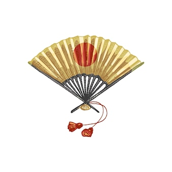 Japanese paper fan. vintage vector hatching color illustration. isolated on white
