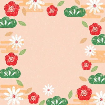 Japanese pattern and icon vector oriental invitation and frame background