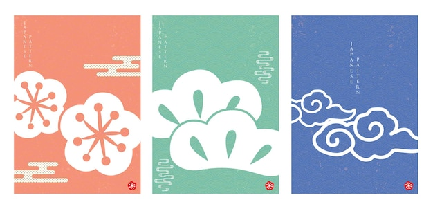 Japanese pattern and icon vector.  oriental wedding invitation and frame background. cherry blossom flower, bonsai and cloud object. abstract template in chinese style.