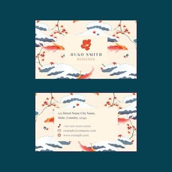 Modello modificabile vettoriale del biglietto da visita con motivo giapponese, remix di opere d'arte di watanabe seitei
