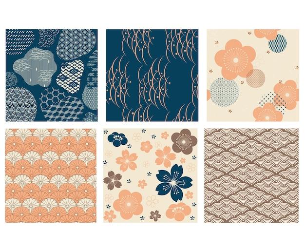 아시아 장식 벡터와 일본 패턴입니다. 빈티지 스타일에 파도 배경으로 벚꽃 꽃입니다.