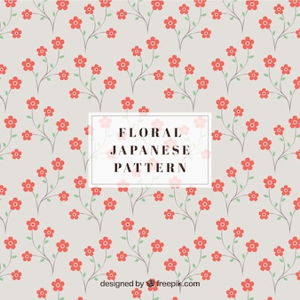 Japanese pattern with red flowers