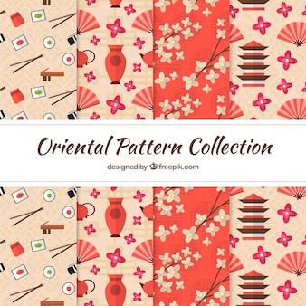 Japanese patterns in flat design elements