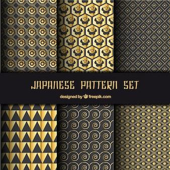黄金の抽象的な形で日本のパターン