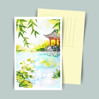 Japanese postcard  of house in watercolor style