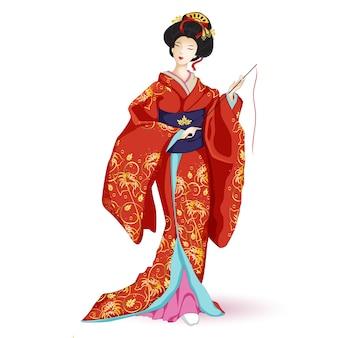 赤い着物の日本の王女