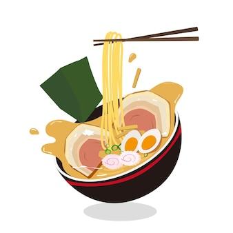 Japanese ramen noodle illustration noodle bowl asia food premium vector