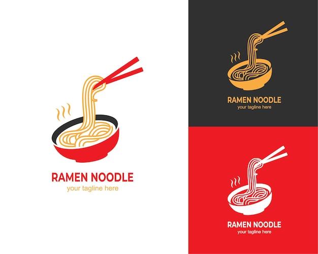 Японский суп рамен с лапшой логотип