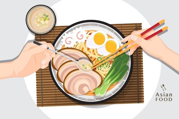 Japanese ramen noodle, traditional asian noodle soup, illustration  .
