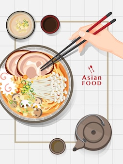日本のラーメン、伝統的なアジアのヌードルスープ Premiumベクター