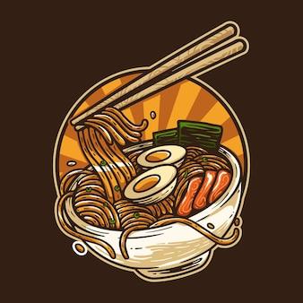 Японская лапша рамэн традиционная еда винтажная иллюстрация