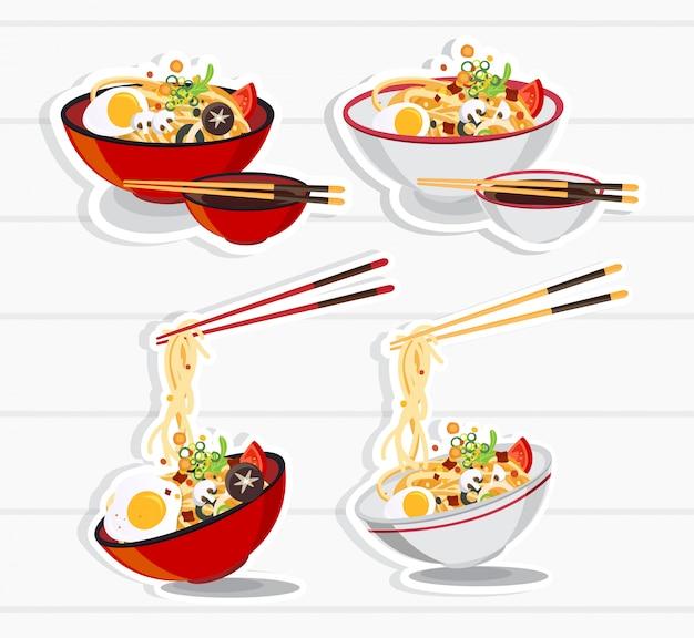 Японский рамэн на миске, суп с лапшой в китайской миске иллюстрация азиатской кухни