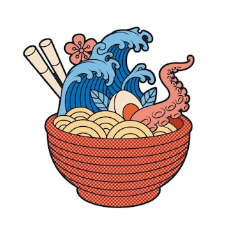 Japanese ramen soup vector illustration in cartoon style,