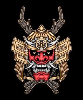 Японский красный самурай. премиум векторы