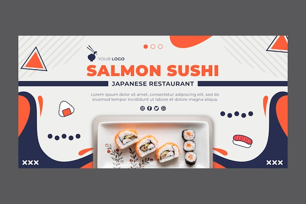 Japanese restaurant banner web template