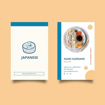 Japanese restaurant double-sided business card