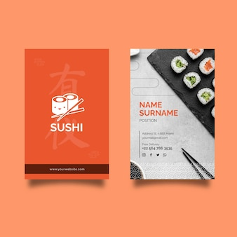 Japanese restaurant double-sided vertical business card template