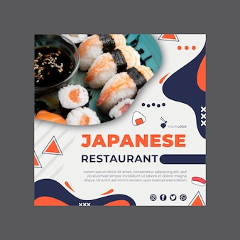 Japanese restaurant flyer square template