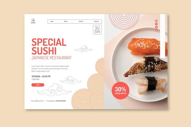 Modello di pagina di destinazione del ristorante giapponese