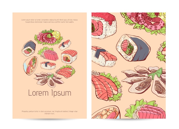 Japanese restaurant menu cover with famous dishes