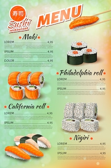Japanese restaurant menu, sushi, rolls price list