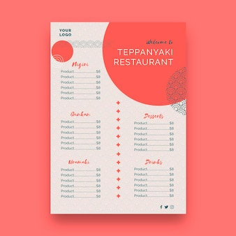 Japanese restaurant menu template