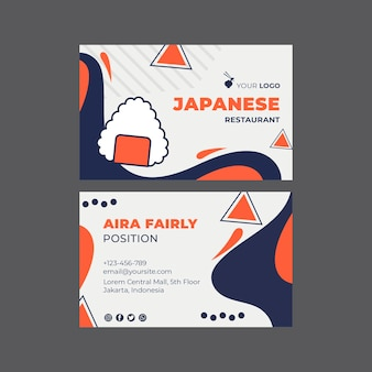 Japanese restaurant sushi horizontal business card