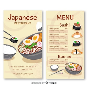Japanese restaurant vertical menu template