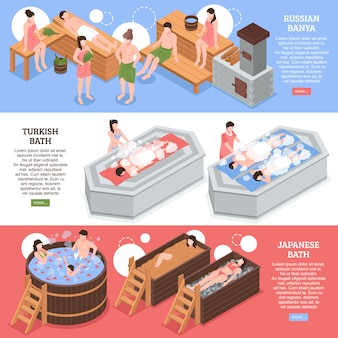 Japanese russian and turkish bath houses set of horizontal isometric banner template