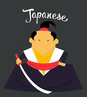 Japanese samurai flat illustration