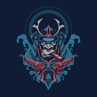 Японский самурай горилла иллюстрация футболка дизайн логотипа талисмана Premium векторы