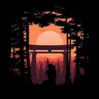 일본 사무라이 그림
