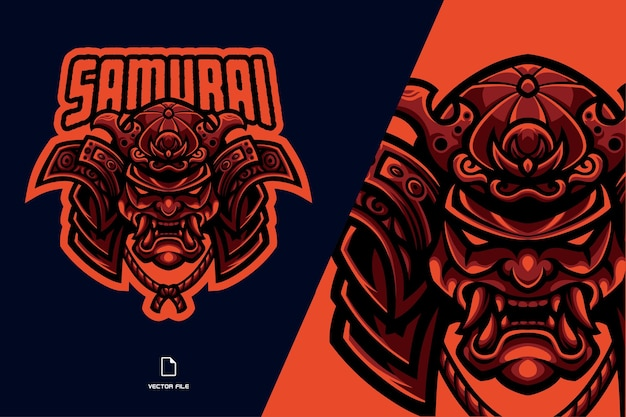Японский самурай маска талисман логотип иллюстрации