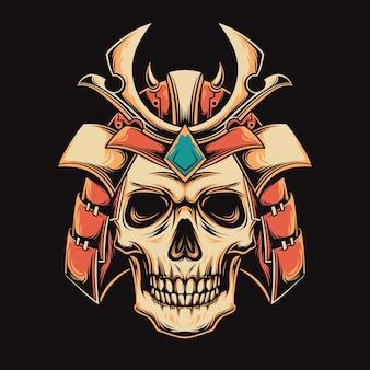 日本の武士の頭蓋骨の頭