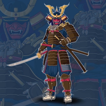 Японский самурай., концепция дизайна татуировки.