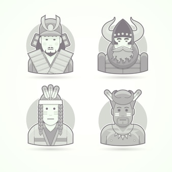 Japanese samurai warrior, viking, red indian man, native african aborigen. set of character, avatar and person  illustrations.  black and white outlined style.