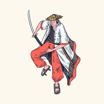 Японские воины-самураи с эскизом оружия. человек в позе боя.