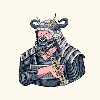 Японские воины-самураи с эскизом оружия.