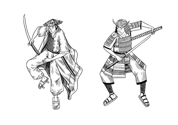 Japanese samurai warriors with weapons sketch