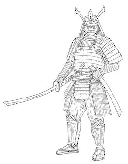 刀を持った日本の侍。ヴィンテージ彫刻黒モノクロイラスト