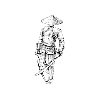 Japanese samurai with two crossed sword vintage vector hatching black illustration isolated on white