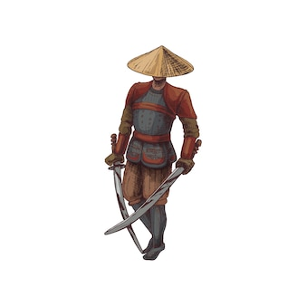 Japanese samurai with two crossed sword. vintage vector hatching illustration.