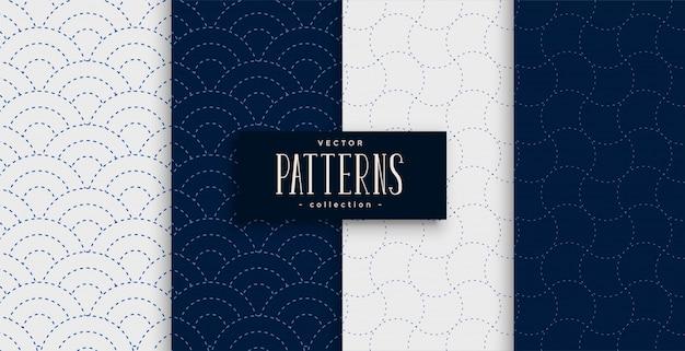 회색과 남색으로 된 일본식 사시 코 패턴