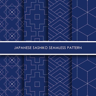 Japanese sashiko seamless pattern  set